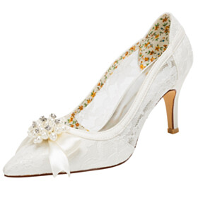 Pointed Toe Stilettos Pumps Shoes Stylish Flowers Bridal Shoes Lace 3 inch High Heel