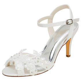Stilettos Evening Party Shoes Round Toe 3 inch High Heeled Satin Sandals Bridals Wedding Shoes With Ankle Strap