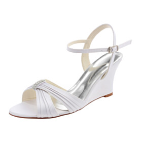 Dress Shoes Satin Wedge Strappy Elegant Sandals Wedding Shoes 3 inch High Heel Round Toe