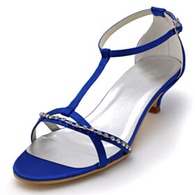 Satin Sandals For Women Royal Blue Strappy Low Heels Round Toe Beautiful Kitten Heel Ankle Strap Bridal Shoes Buckle Dress Shoes