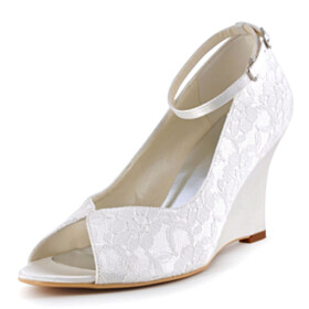 Flower 3 inch High Heeled Wedge Wedding Shoes For Bridal Spring Peep Toe Sandals With Ankle Strap Lace