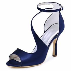 9 cm High Heel Beautiful With Ankle Strap Navy Blue Sandals Bridals Wedding Shoes Formal Dress Shoes Stiletto