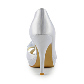 Evening Party Shoes White Elegant Wedding Shoes High Heels Dress Shoes Open Toe Round Toe