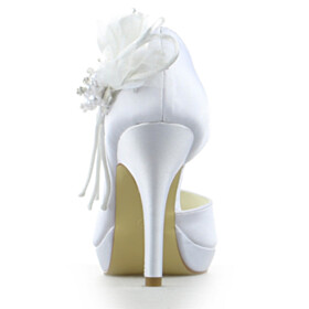 Stiletto Party Shoes Wedding Shoes For Women 4 inch High Heel Round Toe White Satin Appliques Peep Toe