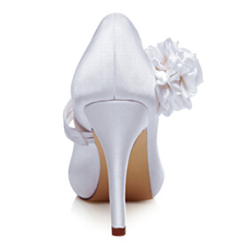 4 inch High Heel Pumps Flower Satin Summer With Ankle Strap Wedding Shoes For Bridal Dress Shoes White
