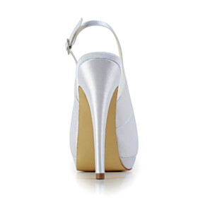 Peep Toe High Heel Stiletto White Sandals Slingbacks Wedding Shoes For Bridal