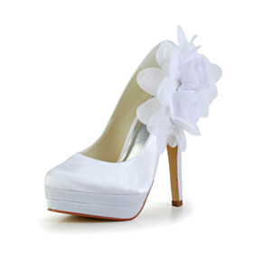 Closed Toe Pumps White Round Toe 13 cm High Heel Party Shoes Flowers