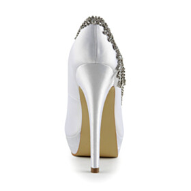 Elegant Pumps Bridal Shoes High Heels 2021 With Metal Jewelry White