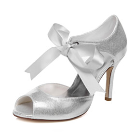 Stilettos With Bowknot White Sequin Lace Up Beautiful Sandals 4 inch High Heel Peep Toe Summer