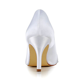 Elegant White Slip On Evening Party Shoes Pumps Stiletto 8 cm High Heel Satin Metal Jewelry Bridals Wedding Shoes