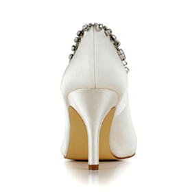 With Metal Jewelry Pumps Wedding Shoes Slip On Satin Pointed Toe Womens Footwear 3 inch High Heel