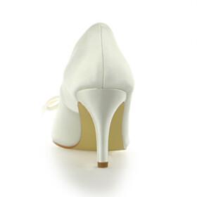 Beautiful With Bowknot 3 inch High Heel Wedding Shoes For Bridal Pumps Pointed Toe 2021 Womens Shoes