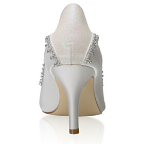 Beautiful Pointed Toe White High Heel Bridal Shoes Satin Pumps Stiletto