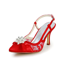 Red Tulle Womens Sandals 3 inch High Heeled Satin Party Shoes Pointed Toe Wedding Shoes For Bridal