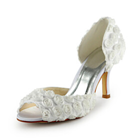 Bridal Shoes Flower Stiletto Open Toe D orsay 3 inch High Heel Round Toe Sandals For Women