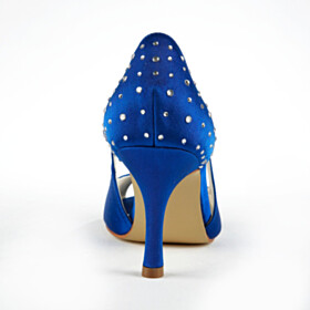 Royal Blue Pumps Peep Toe Wedding Shoes For Women High Heel Stiletto Dress Shoes