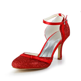 Wedding Shoes 8 cm High Heels Sequin Ankle Strap Bowknot Sparkly Luxury Round Toe Red Pumps