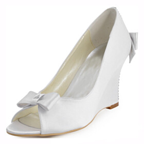 Formal Dress Shoes Bridals Wedding Shoes Round Toe Wedge 8 cm High Heels Peep Toe With Bowknot Pumps Satin With Rhinestones