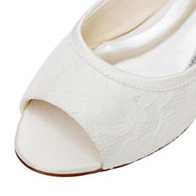 Bridals Wedding Shoes Tulle Round Toe Peep Toe Dress Shoes Slip On Flower Flat Shoes