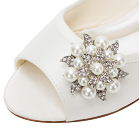 Wedding Shoes For Bridal Formal Dress Shoes Summer Peep Toe Flats Pearls