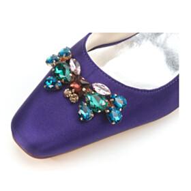 Beautiful Wedding Shoes For Women 6 cm Heel Stiletto Pumps 2021 Purple Womens Footwear Party Shoes Satin Crystal