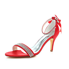 With Bow Stiletto Rhinestones Red 8 cm High Heel Womens Sandals Wedding Shoes For Women Ankle Strap
