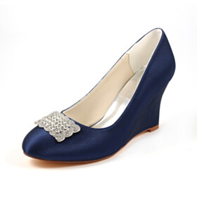 With Metal Jewelry Elegant Round Toe 3 inch High Heel Wedge