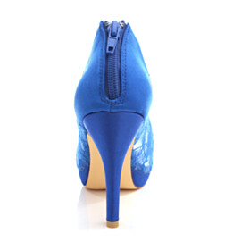 Peep Toe Royal Blue Dress Shoes 4 inch High Heel Tulle Wedding Shoes For Bridal Sandals Stiletto