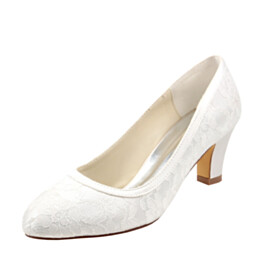 Stylish Closed Toe Bridal Shoes 6 cm Heeled Pumps Flower Formal Dress Shoes