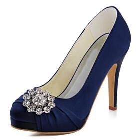 Stiletto Navy Blue Elegant Wedding Shoes For Bridal Satin Pumps High Heel