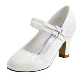 Mid High Heeled Ankle Strap Pumps Elegant Wedding Shoes For Women Satin Chunky Dress Shoes