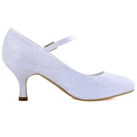 With Flower Rhinestones White Stiletto Pumps Bridals Wedding Shoes Dress Shoes With Ankle Strap Round Toe Mid Heel Heeled Beautiful Lace