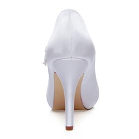 Dress Shoes Party Shoes 4 inch High Heel White Pumps Stilettos Satin Bridals Wedding Shoes