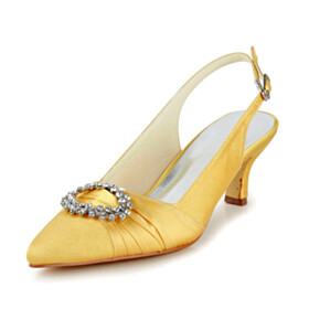 Party Shoes Yellow Beautiful Kitten Heel Bridal Shoes