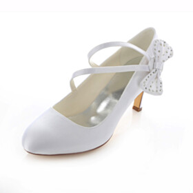 Pumps White Womens Shoes Mid Heel Stiletto Wedding Shoes Evening Party Shoes Beautiful Satin