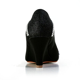 Evening Party Shoes Sparkly Pumps 7 cm Mid Heel Round Toe Wedges Bridals Wedding Shoes Gorgeous Glitter Black