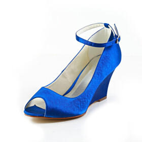Round Toe Ankle Strap Pumps Satin Wedding Shoes For Bridal Beautiful Wedge Peep Toe Mid Heels Dress Shoes