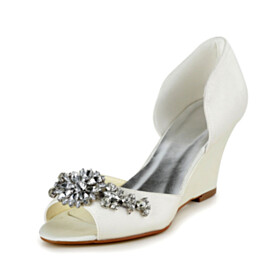 Womens Sandals D orsay Satin Open Toe 7 cm Heeled Round Toe Crystal Wedges Evening Party Shoes Wedding Shoes