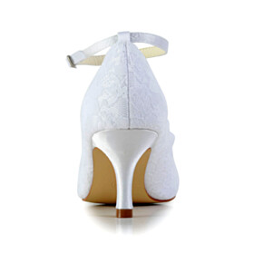 Tulle With Ankle Strap White Stiletto Elegant 7 cm Heeled Wedding Shoes For Women Pumps Flowers
