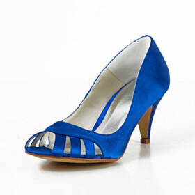 Dress Shoes Royal Blue 7 cm Heeled Stilettos Satin Pumps Elegant Cut Out Peep Toe