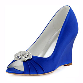 Dress Shoes 3 inch High Heel Wedge Pleated Peep Toe Wedding Shoes For Bridal Pumps Royal Blue With Metal Jewelry
