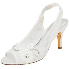 8 cm High Heel Satin Wedding Shoes For Women Lace Round Toe 2021 Peep Toe Stylish Sandals