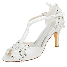 Stilettos Bridals Wedding Shoes D orsay Sandals High Heel Party Shoes Round Toe Stylish Open Toe