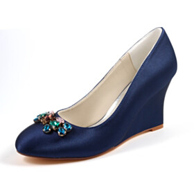 Pumps Wedges Wedding Shoes For Bridal 3 inch High Heel Navy Blue