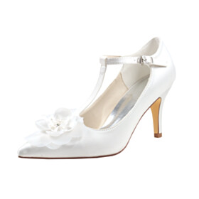 Elegant 3 inch High Heeled Bridals Wedding Shoes Flower Pumps With Ankle Strap Stilettos
