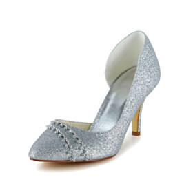 Glitter With Metal Jewelry Silver With Rhinestones Bridal Shoes Stilettos 3 inch High Heel Pumps Pointed Toe Slip On Shoes
