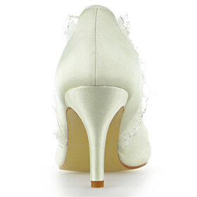 Pointed Toe Satin Spring 3 inch High Heel With Ruffle Formal Dress Shoes Beautiful