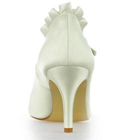 Closed Toe Elegant Stilettos Pumps Satin Formal Dress Shoes 3 inch High Heeled Bridals Wedding Shoes Ankle Strap