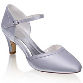 Ankle Strap Silver Stilettos Satin Mid High Heeled Pointed Toe Elegant