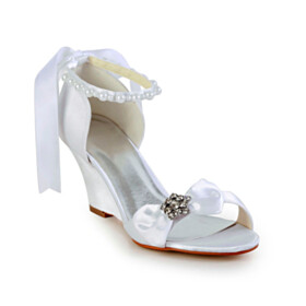 With Bow 7 cm Heeled Satin With Rhinestones Beautiful Ankle Strap 2021 White Wedge Bridals Wedding Shoes Sandals
